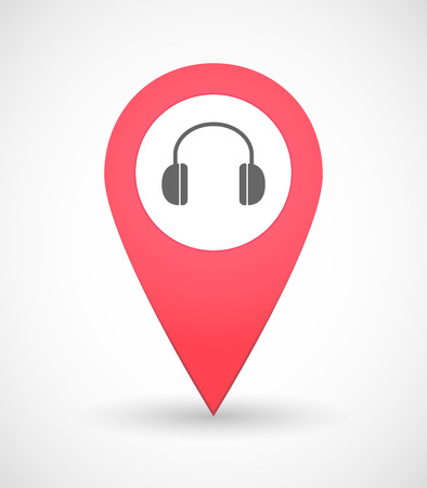 ear phones: Illustration of a map mark icon with a ear phones