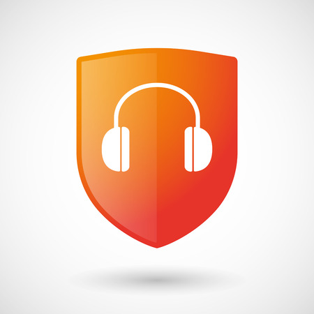 earphones: Illustration of a shield icon with a earphones