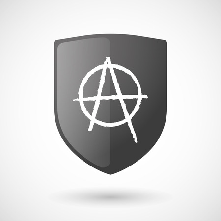 anarchist: Illustration of a shield icon with an anarchy sign Illustration