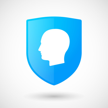 Illustration of a shield icon with a male head Vector