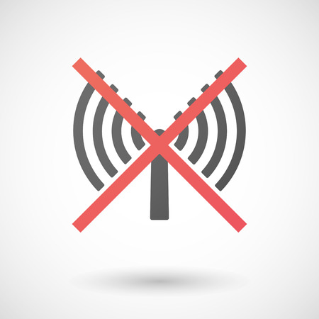 not allowed: Illustration of a not allowed icon with an antenna