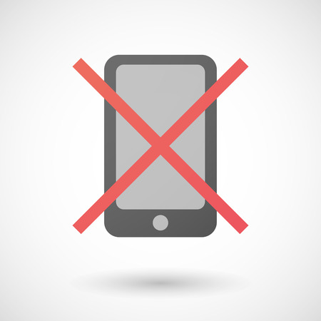 not allowed: Illustration of a not allowed icon with a phone Illustration