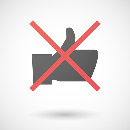 Illustration of a not allowed icon with a thumb hand