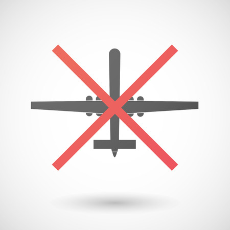 Illustration of a not allowed icon with a war drone Vector