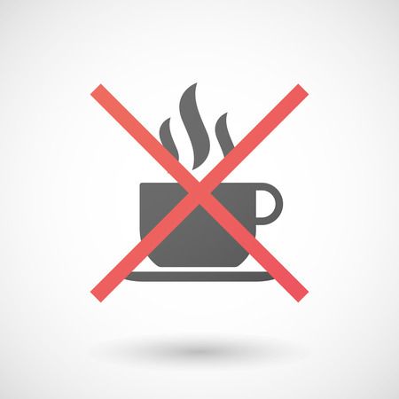 pf: Illustration of a not allowed icon with a cup pf coffee