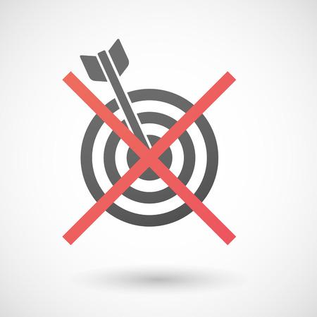 not allowed: Illustration of a not allowed icon with a dart board Illustration