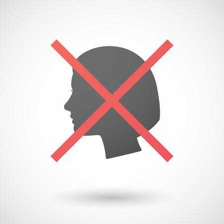 cabeza femenina: Ilustraci�n de un icono no permitido con una cabeza femenina