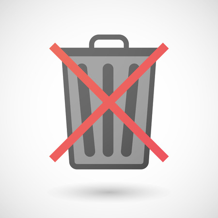 allowed: Illustration of a not allowed icon with a trash can