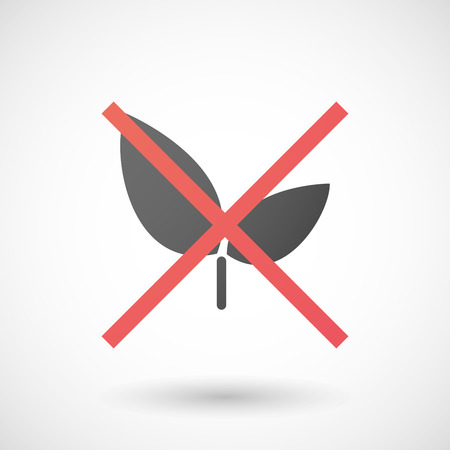 not allowed: Illustration of a not allowed icon with a plant