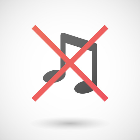 not allowed: Illustration of a not allowed icon with a musical note
