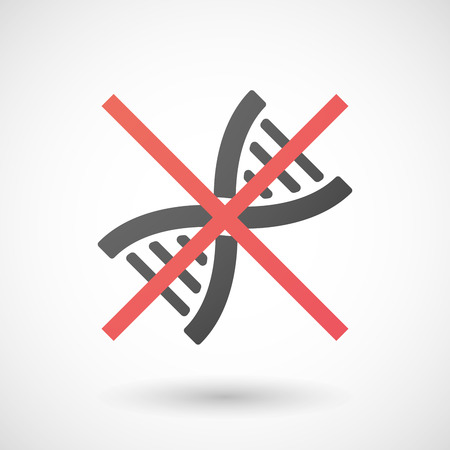transgenic: Illustration of a not allowed icon with a dna sign Illustration