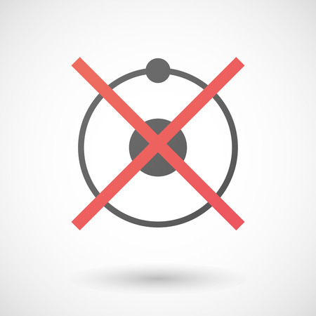 no nuclear: Illustration of a not allowed icon with a nut Illustration