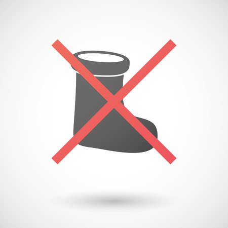 Illustration of a not allowed icon with a christmas sock Vector