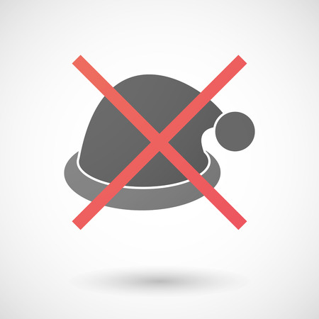Illustration of a not allowed icon with a santa hat
