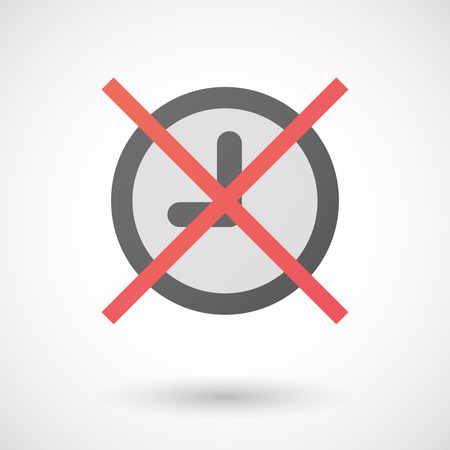 negation: Illustration of a not allowed icon with a clock