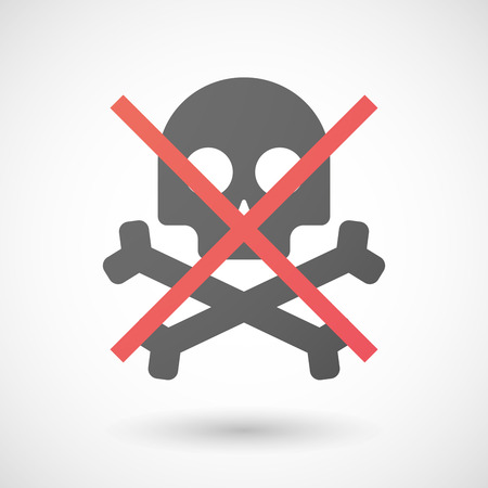 allowed: Illustration of a not allowed icon with a skull