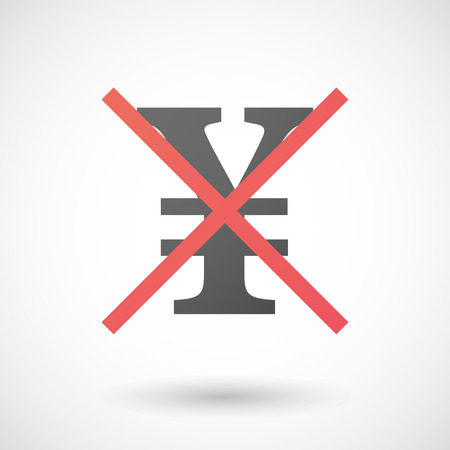 yen sign: Illustration of a not allowed icon with a yen sign