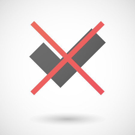 Illustration of a not allowed icon with a check mark Vector