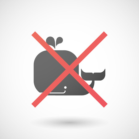 allowed: Illustration of a not allowed icon with a whale