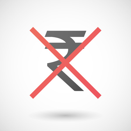 negation: Illustration of a not allowed icon with a rupee sign