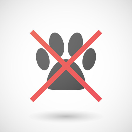 allowed: Illustration of a not allowed icon with an animal footprint