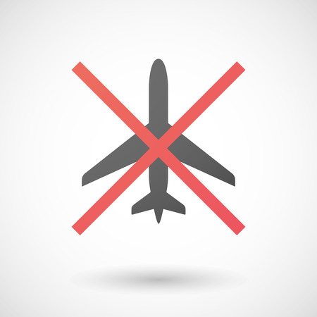 negation: Illustration of a not allowed icon with a plane