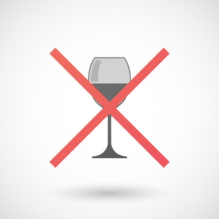 cross bar: Illustration of a not allowed icon with a cup of wine
