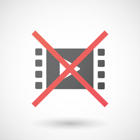 allowed: Illustration of a not allowed icon with a multimedia sign