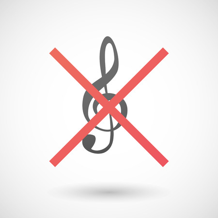 negation: Illustration of a not allowed icon with a g clef