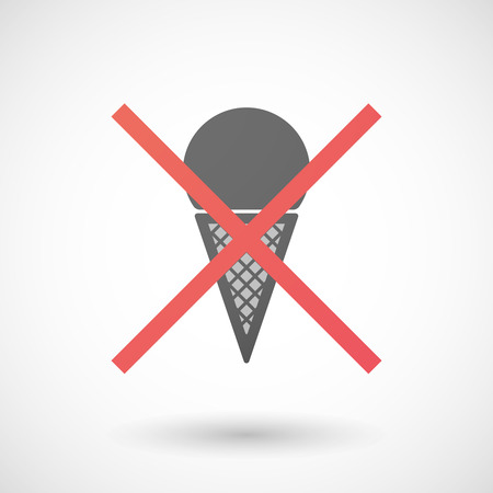 negation: Illustration of a not allowed icon with a cone ice cream