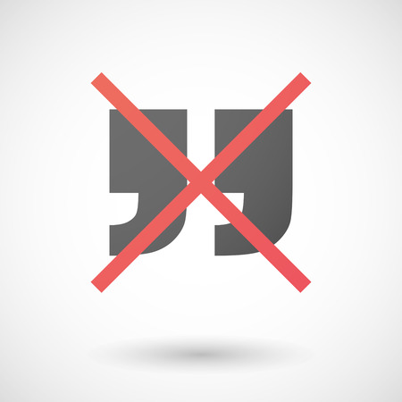 not allowed: Illustration of a not allowed icon with quotes Illustration