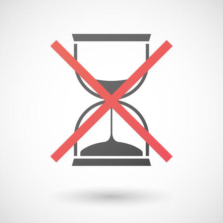 not allowed: Illustration of a not allowed icon with a sand clock Illustration