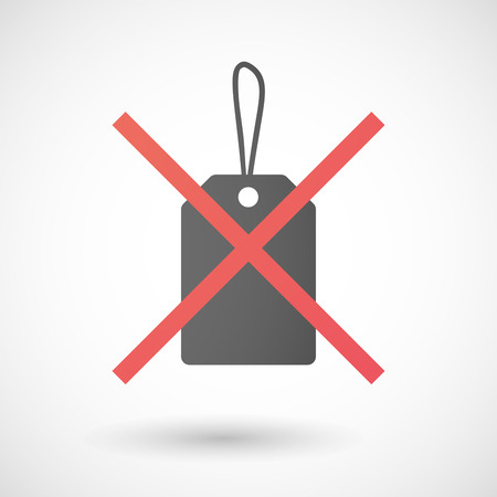not allowed: Illustration of a not allowed icon with a shopping ribbon Illustration