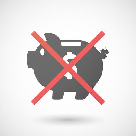 Illustration of a not allowed icon with a piggy bank Ilustração