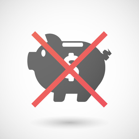 Illustration of a not allowed icon with a piggy bank Illustration