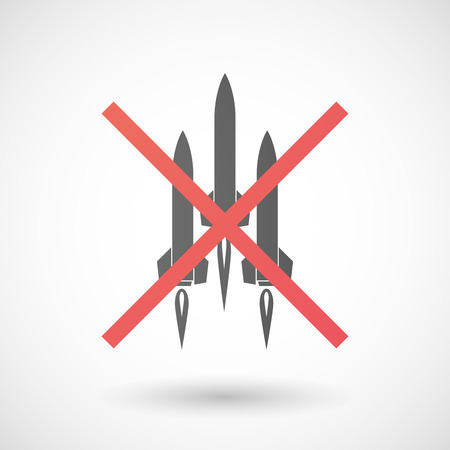 missiles: Illustration of a not allowed icon with missiles