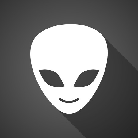 alien face: Illustration of a long shadow alien face icon