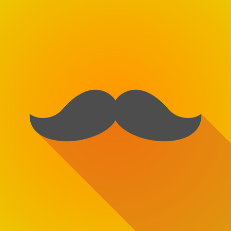 long shadow: Illustration of a long shadow moustache icon