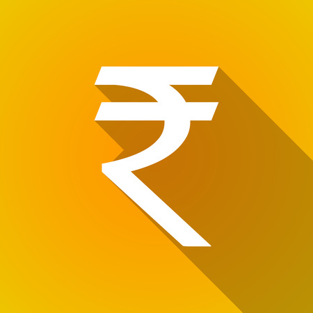 rupee: Illustration of a long shadow rupee icon Illustration