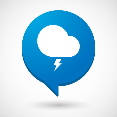stormy: Illustration of a comic balloon icon with a stormy cloud