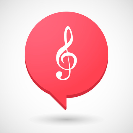 g clef: Illustration of a comic balloon icon with a g clef Illustration