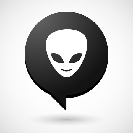 alien face: Illustration of a comic balloon icon with an alien face