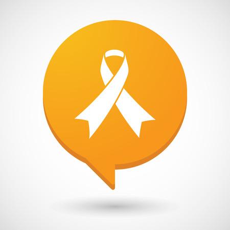 social awareness symbol: Illustration of a comic balloon icon with a social awareness ribbon