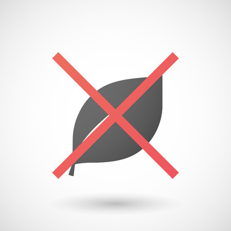 not allowed: Illustration of a not allowed icon with a leaf