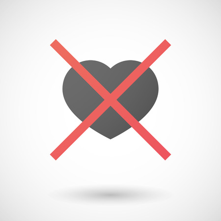 Illustration of a not allowed icon with a heart Illustration
