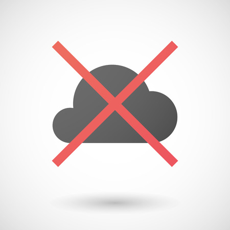 not allowed: Illustration of a not allowed icon with a cloud