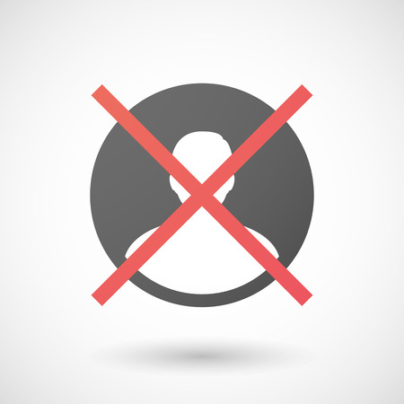 not allowed: Illustration of a not allowed icon with a male avatar