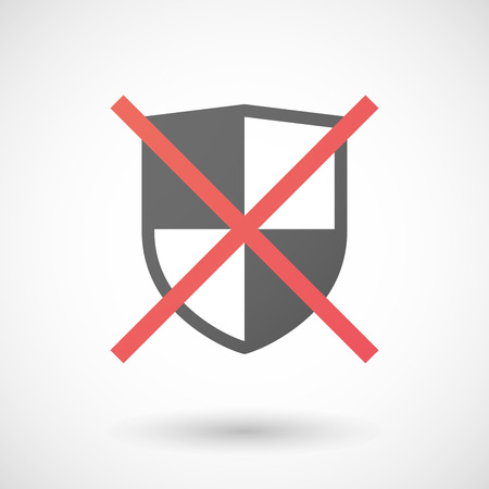 negation: Illustration of a not allowed icon with a shield