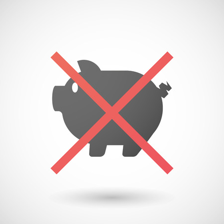 not allowed: Illustration of a not allowed icon with a pig Illustration