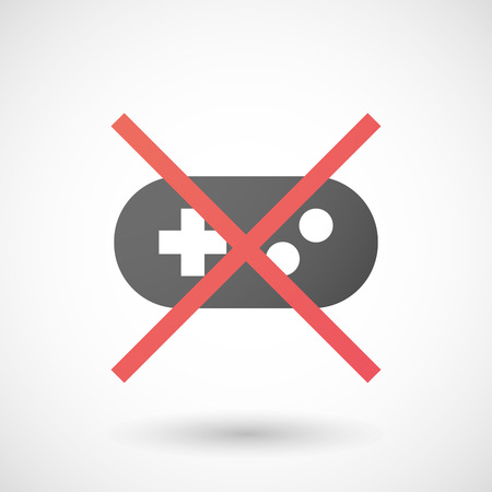 game pad: Illustration of a not allowed icon with a game pad